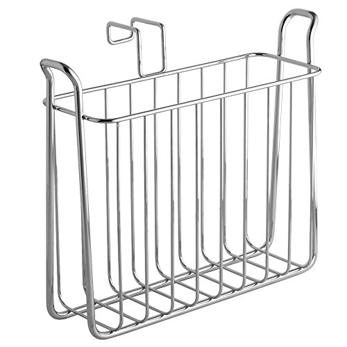 InterDesign Classico Newspaper and Magazine Rack for Bathroom Storage, Over the Tank - Chrome