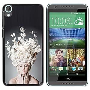 iKiki Tech / Estuche rígido - Fashion Art Woman Butterfly Hat - HTC Desire 820