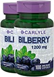 Carlyle Bilberry Extract 1200 mg 200 Capsules – Supports Eye Health – Non-GMO and Gluten Free Supplement