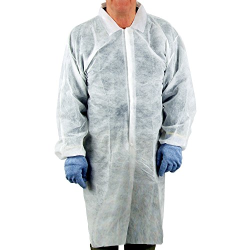 Disposable Lab Coat - UltraSource Disposable Poly Lab Coats, Medium (Pack of 30)