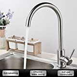 Kitchen Sink Faucet with Swivel Pull Out High Pressure Sprayer and Stainless Steel Swivel Mixer Tap Chrome Best Modern Commercial Brushed High Arch Spring Single Handle Pull Down Kitchen(Water Line Hoses not included)