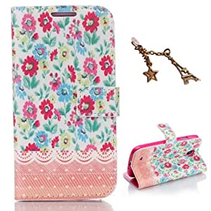 Uming Lace Flower Pattern Colorful Print Leather case for Apple IPhoneSE IPhone 5S SE 5G 5 IPhone5 IPhone5S Apple5S PU Flip Leather Holster with Stand Stander Holder Hand Free Credit Card Slot Wallet Hasp Magnet Magnetic Button Buckle Shell Protective Mobile Cell Phone Case Cover Bag + 1 x Anti Dust Plug (Paint Flower)