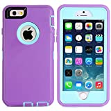 "MOONCASE iPhone 6S Case, 3 Layers Heavy Duty Defender Hybrid Soft TPU +PC Bumper Triple Shockproof Drop Resistance Protective Case Cover for Apple iPhone 6 6S 4.7"" -Purple Blue"