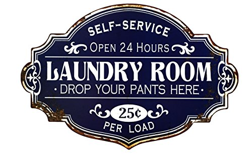 (Creative Co-op Laundry Room Vintage Style Metal Sign)