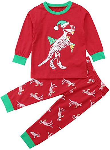 Baby Kids Boys Girls Christmas Tops+Pants Xmas Outfits Pajamas Clothes Set New