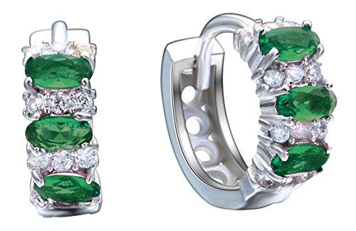 ACVIP Elégant Clip Boucles d'Oreilles Plaqué Argent avec Zircone Cubique Vert pour Femme