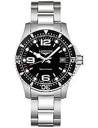 Longines Men's Steel Bracelet & Case Quartz Black Dial Analog Watch L33404566