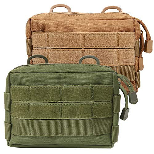 Novemkada MOLLE Pouches - 2 Pack Tactical Compact Water-Resistant Utility Gadget Gear EDC Pouch (Pack of 2 Green+Tan)