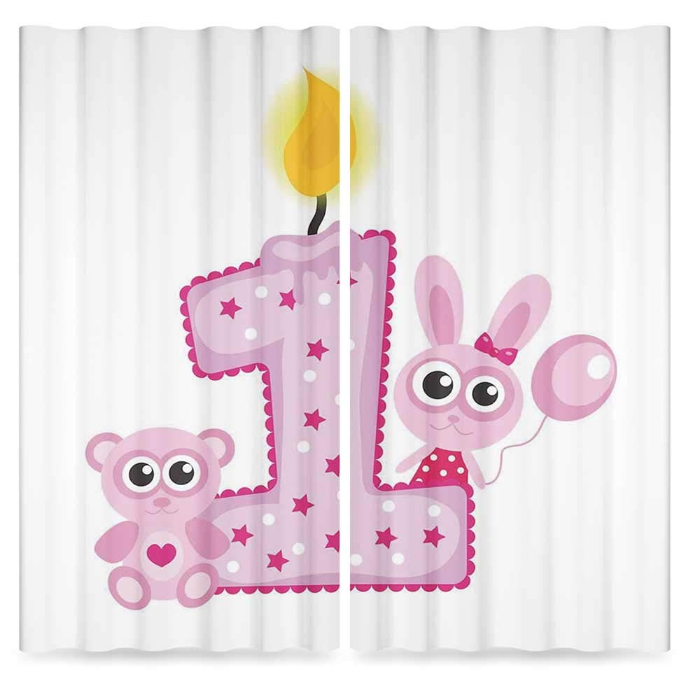 1st Birthday Decorations Decor Collection,Girls Party Theme with First Candle Bunny and Bear Image,for Living Room, 2 Panel Set, 28W X 39L Inches