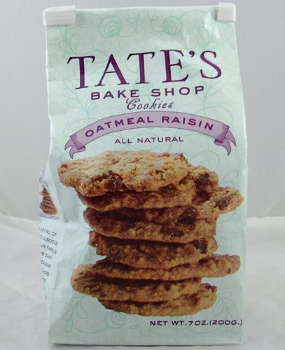 Tate's Bake Shop Cookies - Oatmeal Raisin - All Natural - Each Bag is 7 Ounces (Pack of 12)
