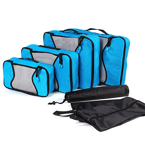 Travel Packing Cubes 7 Piece Weekender Luggage Organizers Set with Laundry Bag ()