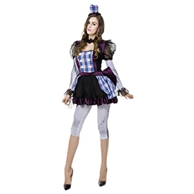 Bigood Halloween Costumes Mariée Fantôme Déguisement Adulte Clown Cosplay Mascarade
