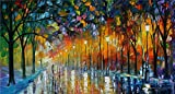 100% Hand Painted Oil Paintings Modern Abstract Oil Painting on Canvas Street Night Home Wall Decor (8X14.5 Inch, Oil Painting 1)