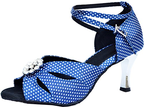 Toe Dance Peep Mide Blue Latin Wedding Womens Peep Toe Satin 005 Heel Shoes Salsa t5nvXnxwq