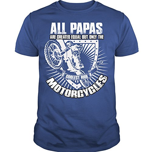 Crazy Fan Store All Papas are Created Equal T Shirt, The Coolest Ride Motorcycles T Shirt Unisex (XXL,Royal)