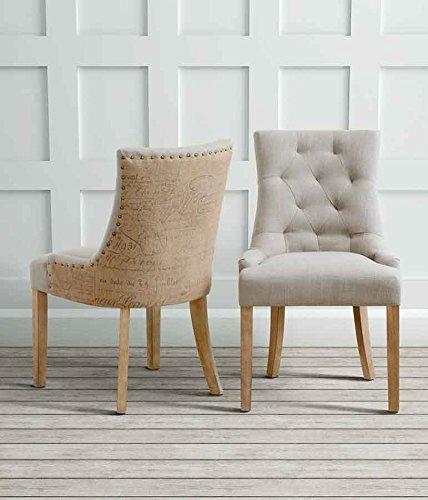 myfurniture torino silla de comedor tapizada de alta calidad con respaldo reclinado y patas rusticas de color natural amazones hogar