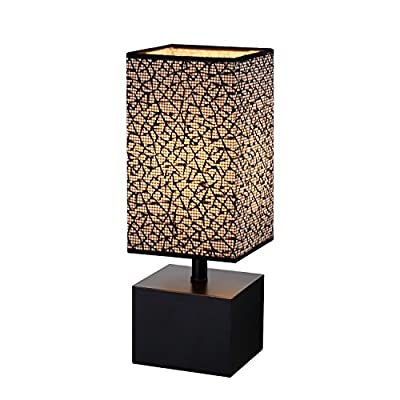 Modern Table lamp, Black Wooden Base Desk Lamp,Bedside Lamp With Sci-fi Pattern black Fabric Lampshade