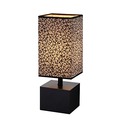 Modern Table lamp, Black Wooden Base Desk Lamp,Bedside Lamp With Sci-fi Pattern black Fabric Lampshade (Lamp Table Black Base)