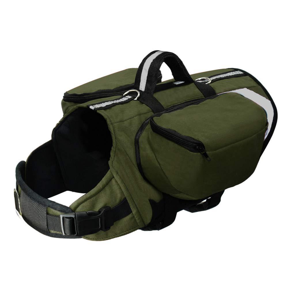 YEUI Outdoor Dog Zaino Imbracatura Cani Confezione Hound Viaggio Campeggio Trekking Zaini Sella per Cani di Taglia Media Grande, verde, 44 to 62cm Chest