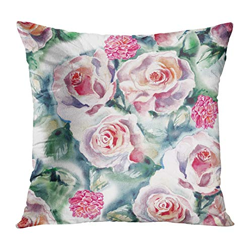 Fabric Color Samples - Emvency Throw Pillowcase Abstract Watercolor Hand Tropical Roses Flower Album Roza in Water Color Samples Fabrics Partners Fashion Square Size 16 x 16 Inches Zippered Home Decor Cushion Covers