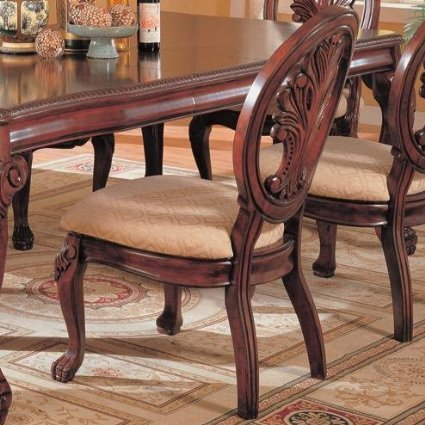 Tabitha Dining Side Chairs Dark Cherry and Beige (Set of 2) -