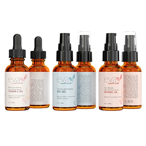 Eva Naturals Facelift in a Bottle - 3-in-1 Anti-Aging Set with Retinol Serum, Vitamin C Serum and Eye Gel - Formulated to Reduce Wrinkles, Fade Dark Spots and Treat Under-Eye Bags - Premium Quality by Eva Naturals (Image #1)