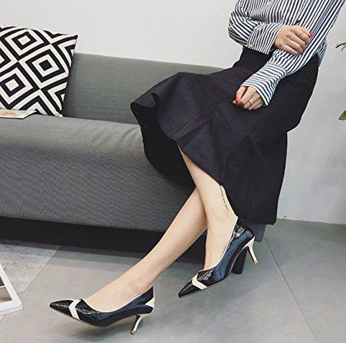 MDRW-Lady Elegant Arbeit Arbeit Arbeit Freizeit Feder Mode Farbe Patent Flache Öffnung 6 Cm Spitz High-Heeled Schuhe Arbeiten Schwarz Fein Mit Den Schuhen 196d5f