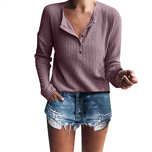 TIFENNY Women's Casual Day Wear Pullover Long Sleeve Henley Shirt Rib Knit Blouse Button Neck Tunic ()
