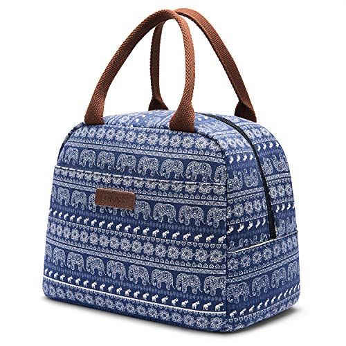 LOKASS Lunch Bag Cooler Bag Women Tote Bag Insulated Lunch Box Water-resistant Thermal Lunch Bag Soft Liner Lunch Bags for women/Picnic/Boating/Beach/Fishing/Work (Blue+Elephant)