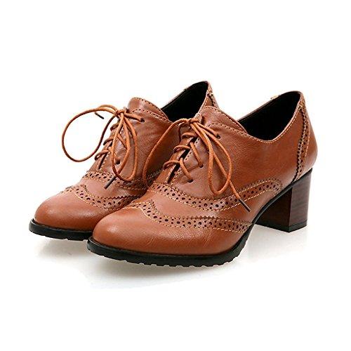 Zapatos marrones vintage Eozy para mujer OQmcF