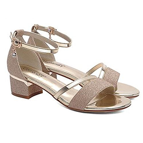 XIAOLIN バックルサンダル女性夏の粗いヒールミドルヒールレザーハイヒールの靴オープントゥ学生(オプションのサイズ) (色 : ゴールド, サイズ さいず : EU37/UK4.5-5/CN37)