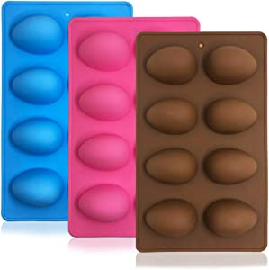 SENHAI 3 Pcs Egg Shape Silicone Molds, 8-Cavity Food-grade Baking Mold for DIY Cake Decoration,Chocolate, Pastry, Muffin, Bread, Ice Cube, Soap - Pink, Blue, Brown