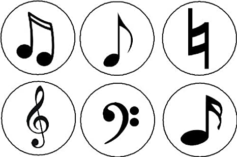 Set of 6 MUSICAL SYMBOLS Magnets - Music Musician Notes Natural Sign Treble  Bass Clef Signs
