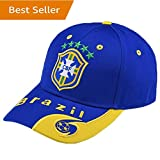 Brazil National Team Soccer Cap - Adjustable Embroide Blue Authentic 2018 Russia World Cup Fans Blue Baseball Cap Hats