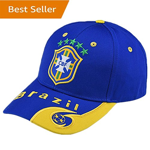 Brazil National Team Soccer Cap - Adjustable Embroide Blue Authentic 2018 Russia World Cup Fans Blue Baseball Cap Hats - Brazil Soccer Cap