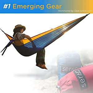 Serac Sequoia XL Wide Double Hammock with Ripstop Nylon and Quick-Hang Suspension System, Daybreak Orange/Blue
