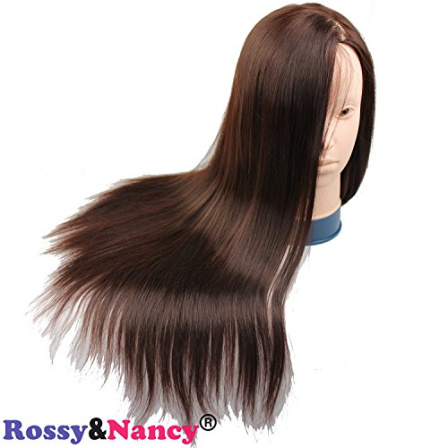 Rossy&Nancy Cosmetology Mannequin Manikin Training Head with Brown Synthetic Hair for Practice and Make Up