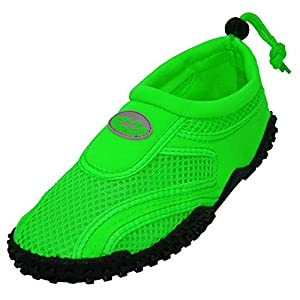 Aqua Socks womens Water Shoe, Neon Green, 6