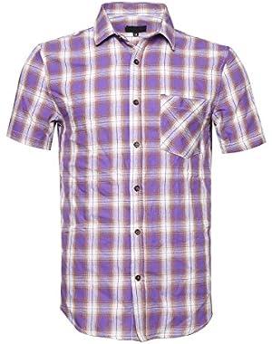 Men's Short Sleeve Button Down Colourful Plaid Work Casual Western Shirt