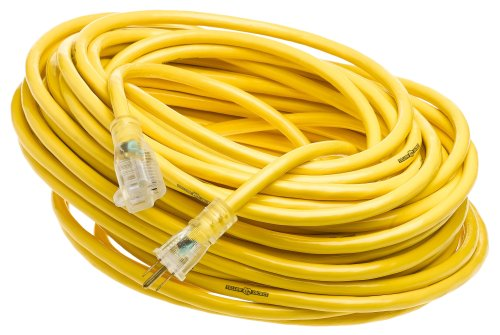 Yellow Jacket 2885 12/3 Heavy-Duty 15-Amp Premium SJTW Contractor Extension Cord with Lighted End, Ideal use With Heavy Duty Equipment and Tools, Durable Molded Plugs, 100 Feet, Yellow from Yellow Jacket