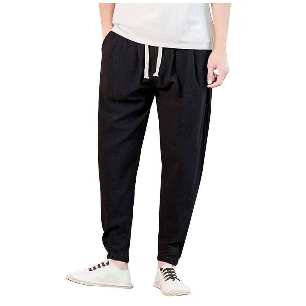 Mens Pant, Men's Casual Slim Fit Sports Loose Harem Pants Ankle-Length Linen Trousers Baggy Pants Black