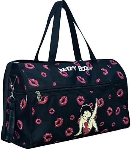 Betty Boop Canvas Black L 19 Sport Travel Overnight Duffle Bag Sport kick