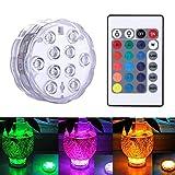 Luces LED Sumergibles, Multicolor Impermeable Sumergible de Luces LED para el Banquete de Boda Piscina, Pecera, Decoraciones de Navidad de la Luz del Mando a Distancia