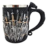 Medieval Dragon Iron Throne Of Swords Coffee Mug Drinking Stein Tankard Cup premium decor collectible figurine