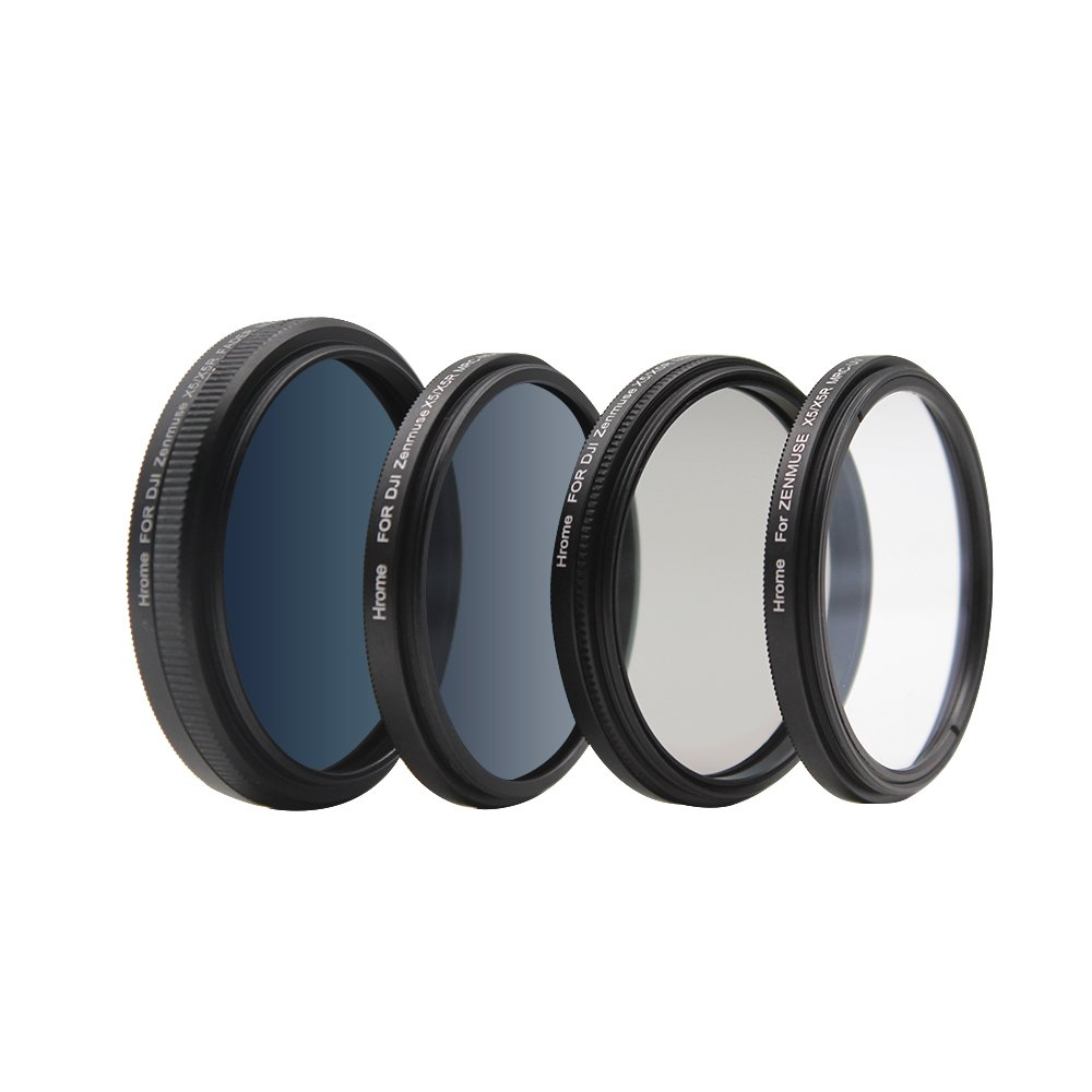 HromeCameraFiltersSetForDJIZenmuseX5 X5R X5S Inspire1,MultiCoatedUltra-HighDefinitionOpticalGlass,FiltersKitInclude:UVFilter+CPLFilter+ND16Filter+ND2-400Filter,4-pack by Hrome