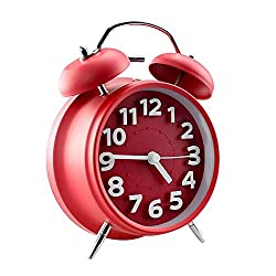 Jinberry 4 (11.7cm) Twin Bell Silent Alarm Clock with Night light, No Tick Classic Table Clock Matte Finished - Red