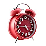 Jinberry 4'' (11.7cm) Twin Bell Silent Alarm Clock with Night light, No Tick Classic Table Clock Matte Finished - Red