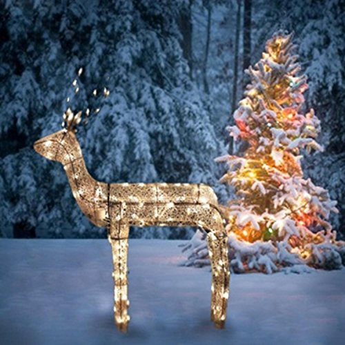 Northlight 3-D Glitter Animated Standing Buck Reindeer Lighted Christmas Yard Art Decoration with Clear Lights, 48