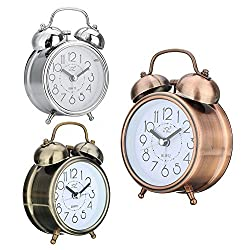 GUANGS GuanGsskuo Classic Silent Double Bells Quartz Movement Bedside Table Retro Mini Alarm Clock Silver