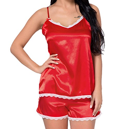 Lace e Sexy Hibote Top Cami Donna morbido Spaghetti Pigiama Rosso Fit Set Slim Nightwear Strap Top Short Sleepwear qxxX1SwB